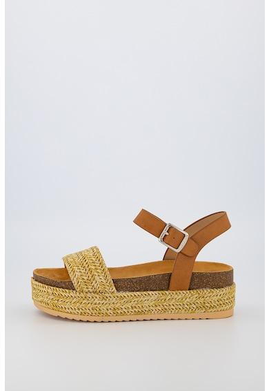 MTNG Sandale de iuta cu insertii de piele ecologica Femei