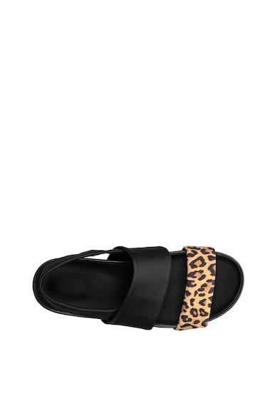 Clarks Sandale de piele cu bareta si imprimeu leopard Pure Femei