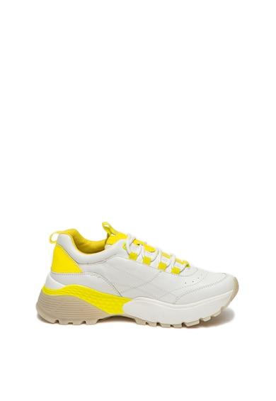 s.Oliver Pantofi sport din piele ecologica, cu aspect masiv si accente contrastante Femei