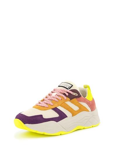 Scotch & Soda Pantofi sport cu model colorblock si garnituri din piele intoarsa Celest Femei