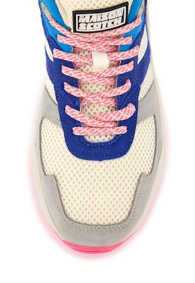 Scotch & Soda Pantofi sport din piele si piele intoarsa Celest Femei