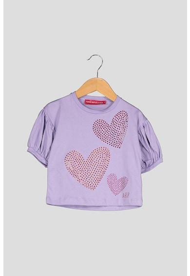 Agatha Ruiz de la Prada Tricou din bumbac cu aplicatii de strasuri Heartful Colors Fete