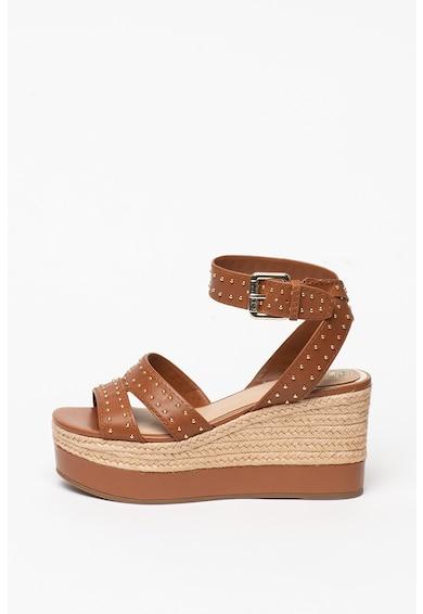 Guess Sandale din piele cu talpa wedge si aplicatii cu nituri Femei