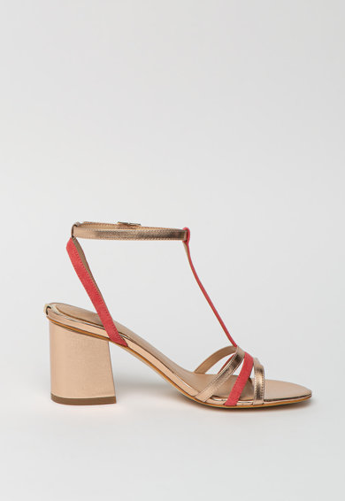 Guess Sandale din piele ecologica si piele intoarsa cu toc masiv Femei