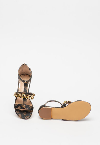 Guess Sandale de piele ecologica, cu bareta in forma de T si model logo Femei
