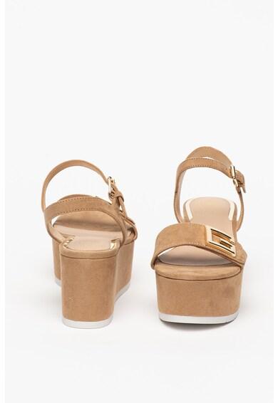 Guess Sandale wedge de piele ecologica cu bareta pe glezna Femei
