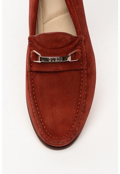 Guess Pantofi loafer de piele intoarsa, cu logo metalic Barbati