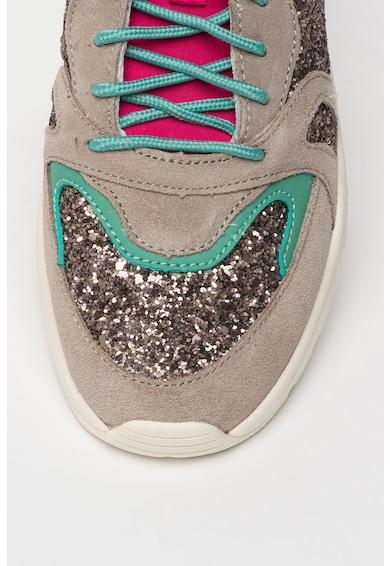 Pepe Jeans London Pantofi sport de piele intoarsa cu aplicatii stralucitoare Harlow Femei