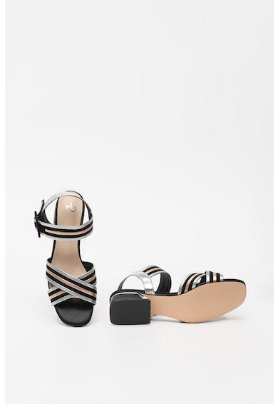 RB DI ROCCOBAROCCO Sandale cu model in dungi si toc masiv Adele Femei