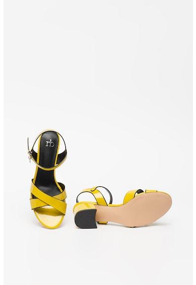 RB DI ROCCOBAROCCO Sandale de piele ecologica, cu aspect lacuit Giallo Femei