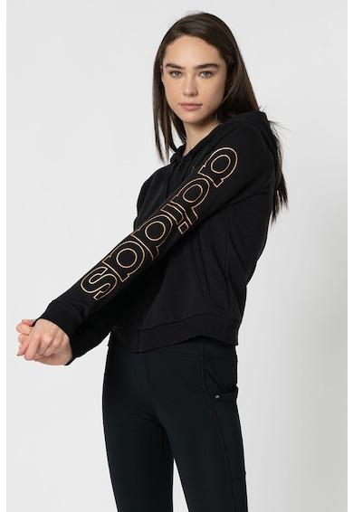 adidas Performance Hanorac cu fermoar si logo pe maneca, pentru fitness Femei