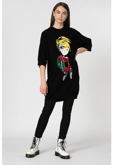 Love Moschino Rochie tip pulover cu model grafic Femei