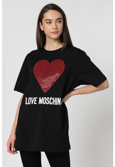 Love Moschino Tricou cu aplicatie in forma de inima, din paiete Femei