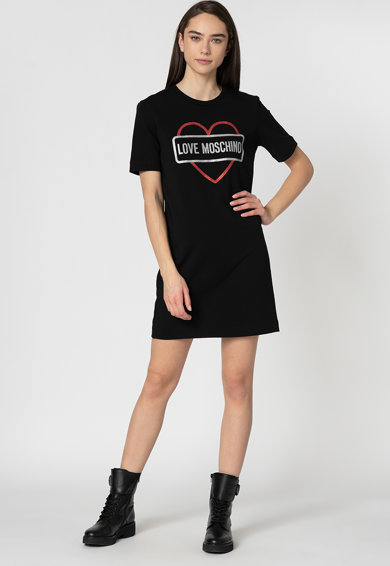 Love Moschino Rochie sport cu imprimeu logo stralucitor Femei