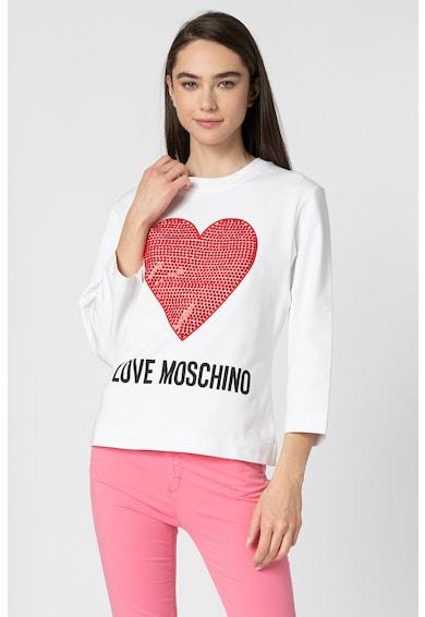 Love Moschino Bluza sport cu decolteu la baza gatului, imprimeu logo si broderie cu inima Femei