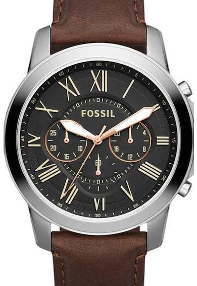 Fossil Комплект часовник и кожена гривна Мъже