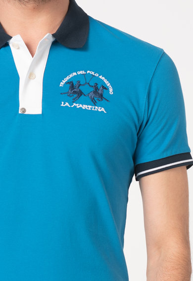 LA MARTINA Tricou polo slim fit din material pique, cu broderie logo Barbati