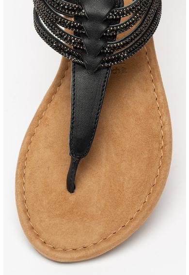 Tamaris Sandale de piele cu bareta separatoare si strasuri Femei