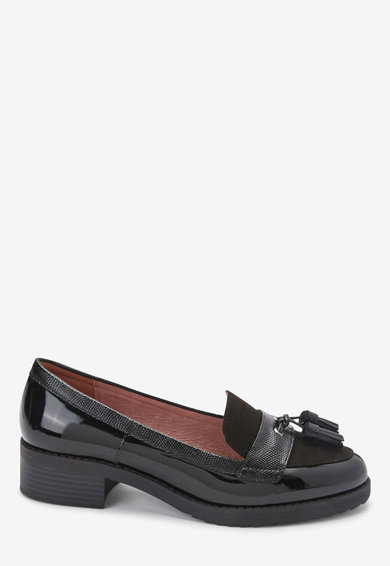NEXT Pantofi loafer din piele lacuita, cu canafi decorativi Femei