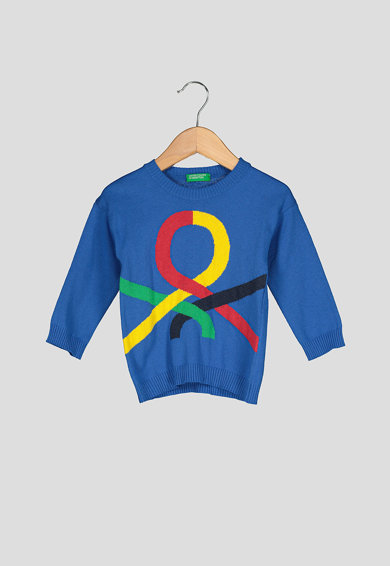 United Colors of Benetton Pulover tricotat fin, cu logo Baieti