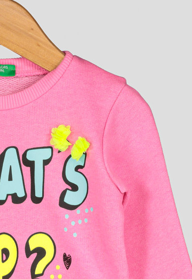 United Colors of Benetton Bluza sport cu imprimeu text si decolteu la baza gatului Fete