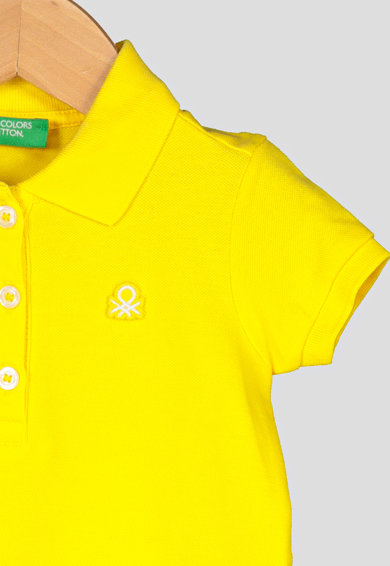 United Colors of Benetton Tricou polo cu aplicatie cu broderie logo Fete
