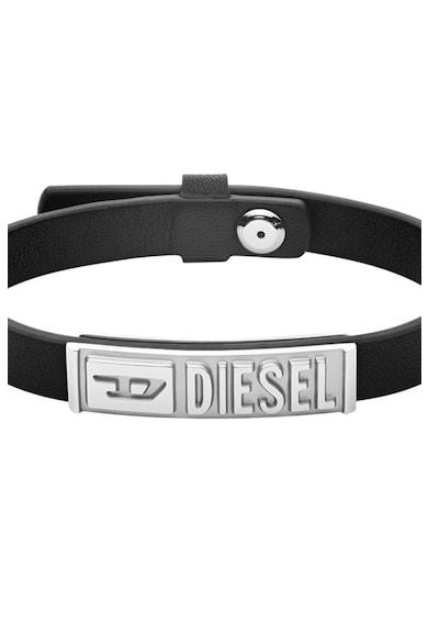 Diesel Bratara de piele cu logo metalic Barbati