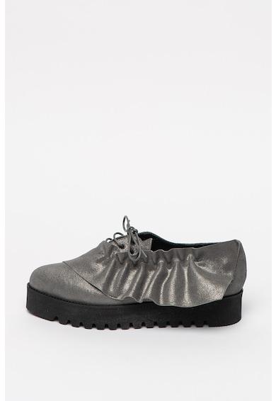 Mihaela Glavan Pantofi flatform de piele intoarsa cu varf ascutit Femei