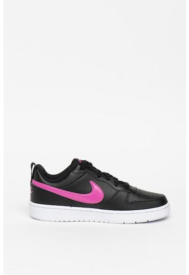 Nike Pantofi sport din piele cu insertii din piele ecologica Court Borought Fete