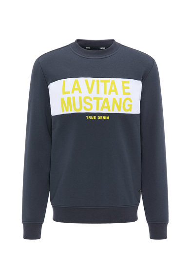Mustang Bluza sport cu decolteu la baza gatului si imprimeu text Ben Cut'nSew Barbati