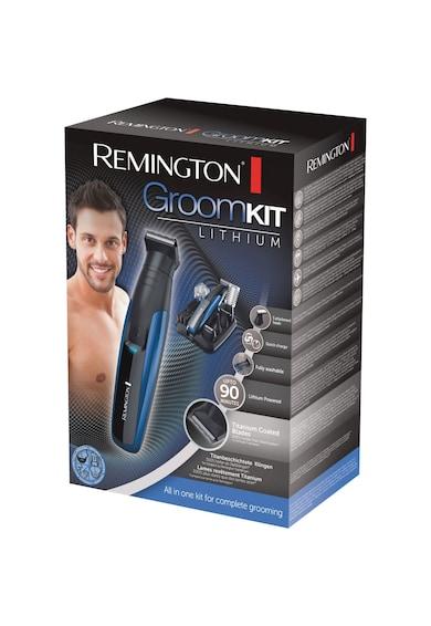 Remington Set complet tuns facial si corporal  Groom Kit Lithium , Acumulatori Litiu, Lame auto-ascutire invelis Titan, Negru/Albastru Barbati