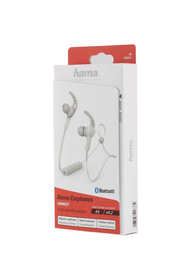 Hama Casti Bluetooth  In-ear Connect, microfon, cablu plat, Gri Femei
