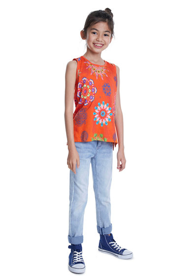 DESIGUAL Tricou fara maneci, cu model floral Tulancingo Fete