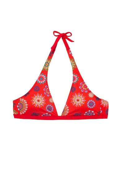 DESIGUAL Sutien halter de baie cu cupe triunghiulare si model mandala Femei