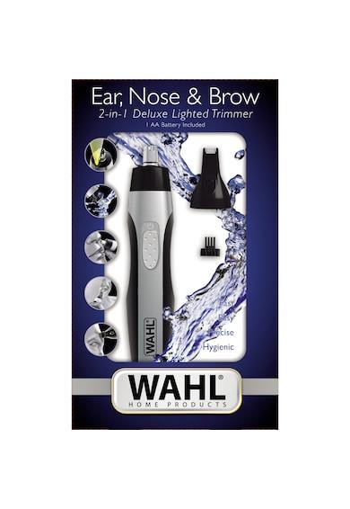 Wahl Aparat de tuns parul din nas urechi si sprancene  , baterie AA, 2 capete incluse, dispozitiv de ghidare detasabil, negru-argintiu Barbati