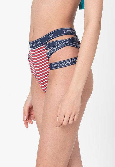 Emporio Armani Underwear Chiloti cu dunga laterala si banda logo in talie Femei