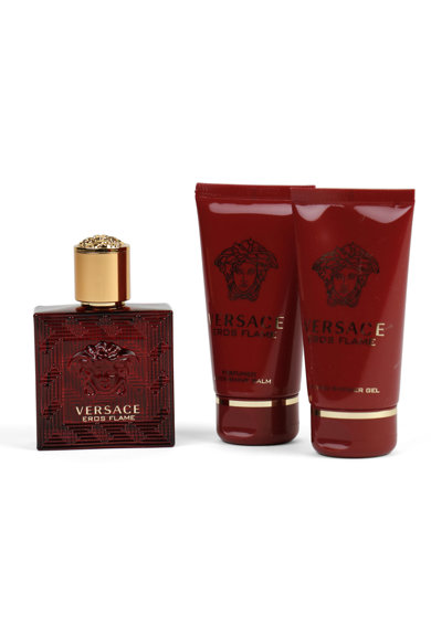 Versace Комплект  Eros Flame за мъже: Парфюмна вода, 50 мл + Афтър шейв балсам, 50 мл + Душ гел, 50 мл Мъже