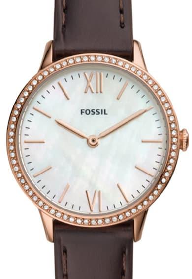 Fossil Set de ceas quartz cu o curea de piele His&Hers Barbati