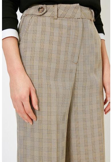 KOTON Pantaloni evazati cu model in carouri si talie inalta Femei