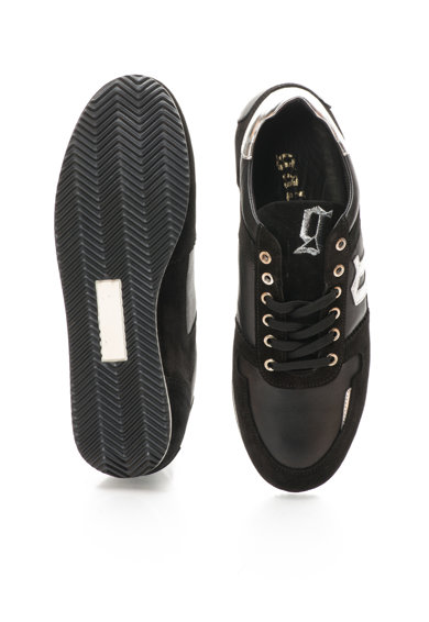John Galliano Pantofi casual negri din piele si piele intoarsa Barbati