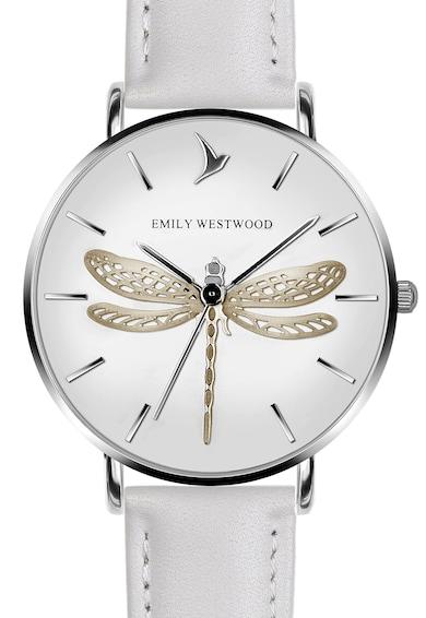 Emily Westwood Ceas cu o curea de piele si cadran cu imprimeu fluture Dragonfly Femei