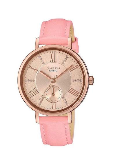 Casio Часовник с кожена каишка и кристали Swarovski® Жени