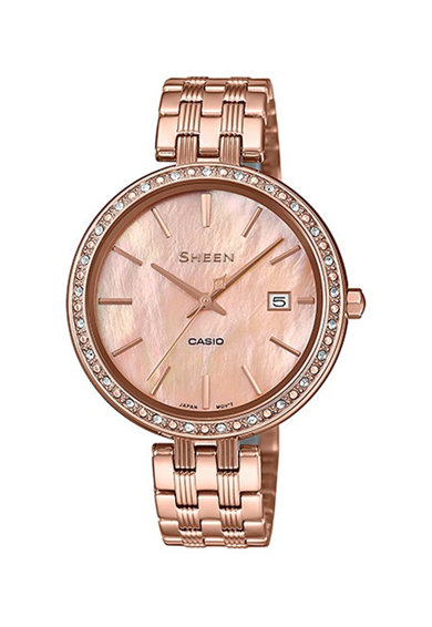 Casio Часовник с метална верижка със седеф и кристали Swarovski® Жени