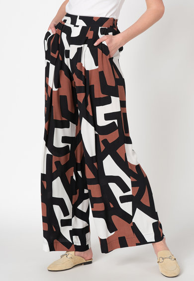 Stefanel Pantaloni palazzo cu model geometric Femei