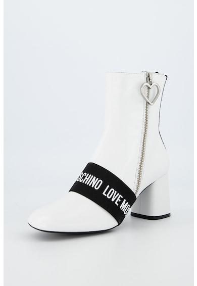 Love Moschino Botine din piele cu banda logo Femei