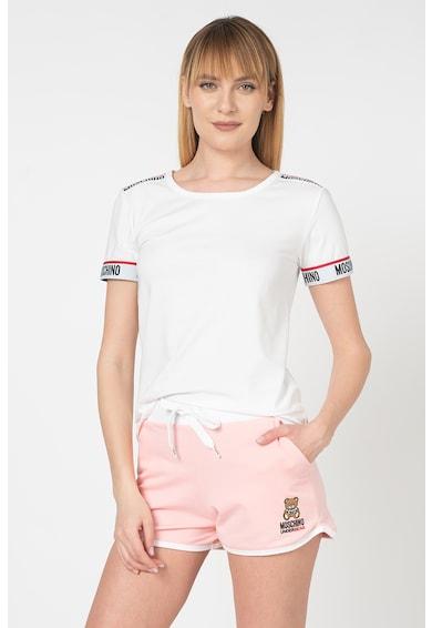 Moschino Tricou de casa cu benzi elastice cu logo Femei