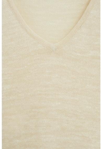 Mango Тениска с лен и шпиц деколте Жени