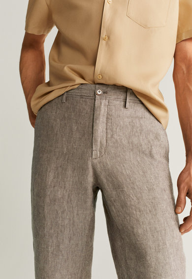 Mango Pantaloni slim fit din in Oyster Barbati