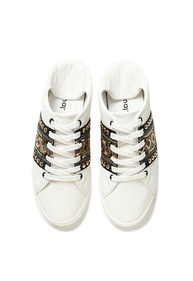 DESIGUAL Pantofi sport de piele ecologica, cu aplicatii cu paiete Femei