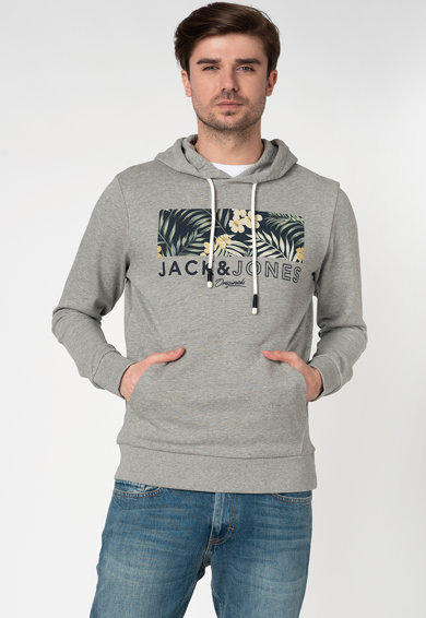 Jack&Jones Hanorac cu imprimeu logo si buzunar kangaroo Tropic Barbati